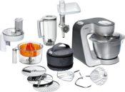Produktfoto - Die Bosch Styline MUM56340 Küchenmaschine mit dem kompletten Lieferumfang